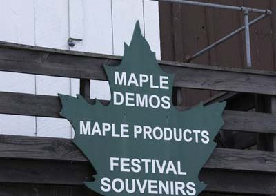 sign, maple demos, products, souvenirs